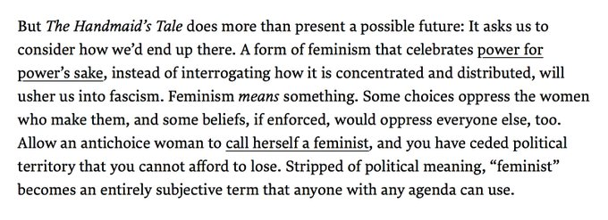 This is a stellar @onesarahjones essay about THE HANDMAID'S TALE, feminism, and words meaning things. https://t.co/y86uvj7dAh