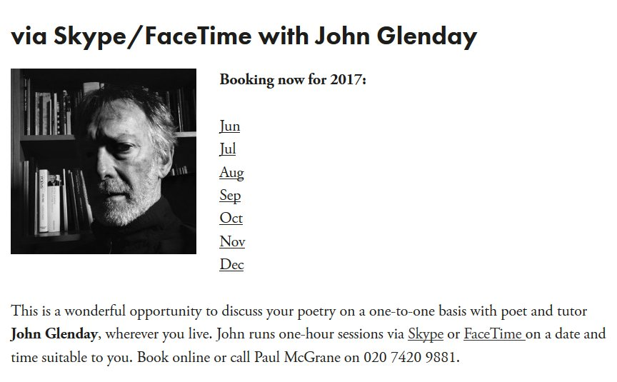 test Twitter Media - Plenty of Skype Poetry Surgeries available w/ John Glenday - superb advice on your poems, and such a gent!   https://t.co/CcYDinfTbM https://t.co/wBIm5gLCoq