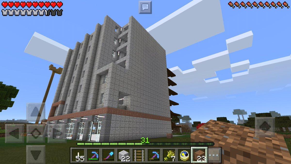 マインクラフトpeで現在、花菱(松菱)デパートを建設中2nd。構造にミス発見…壁面の一部だけどこれは修正が大変そうだor