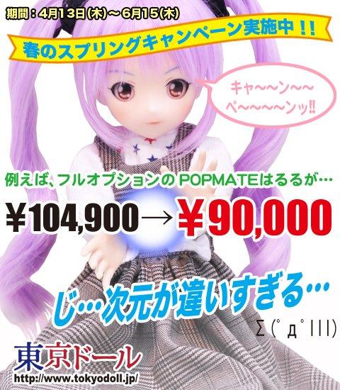 東京ドールはただいま「スプリングキャンペーン」真っ最中!!さめどぉるさん衣装制作の「ポップメイト/はるる」も大好評販売中