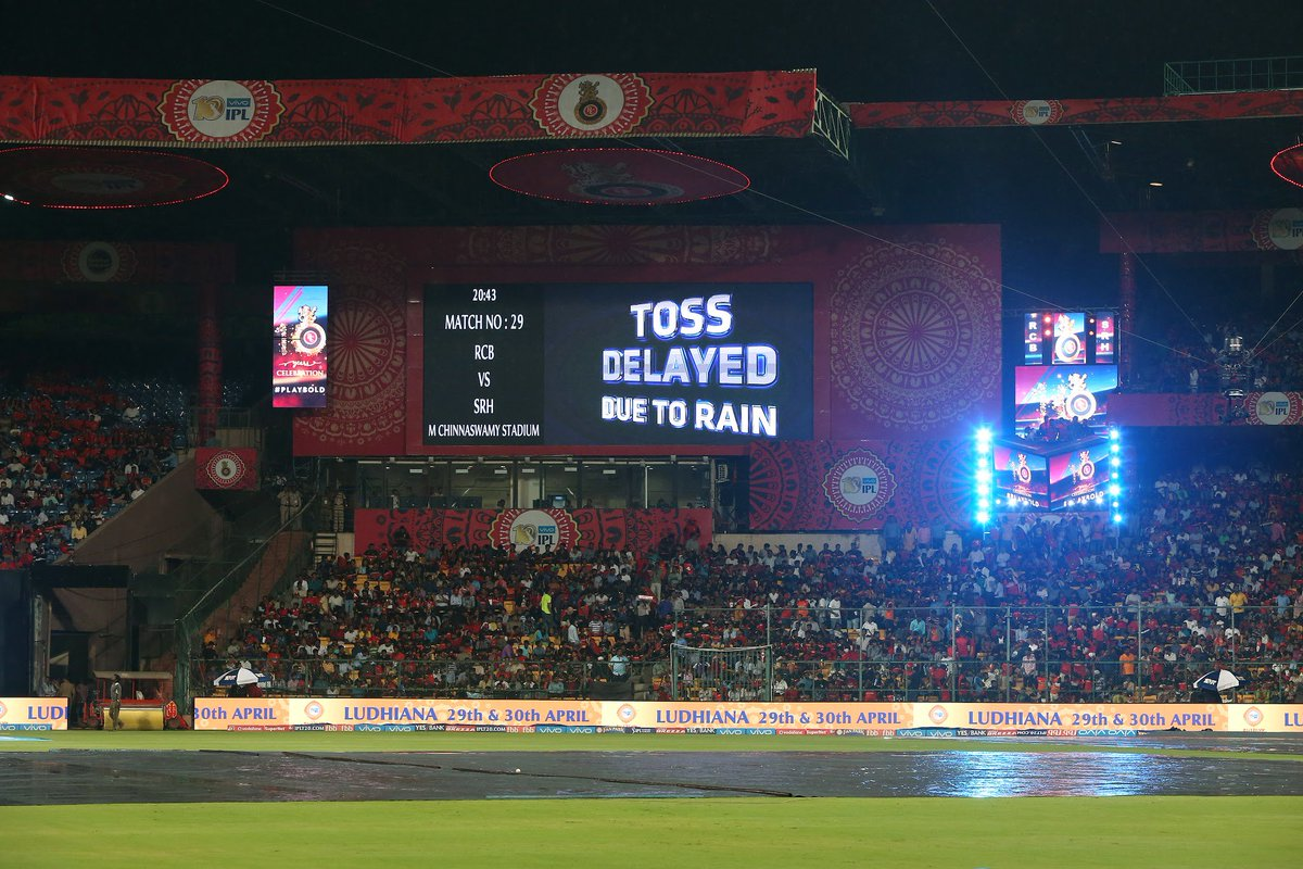 It is still raining at the Chinnaswamy stadium. A 5-over match can start as late as 2330 IST #RCBvSRH #IPL