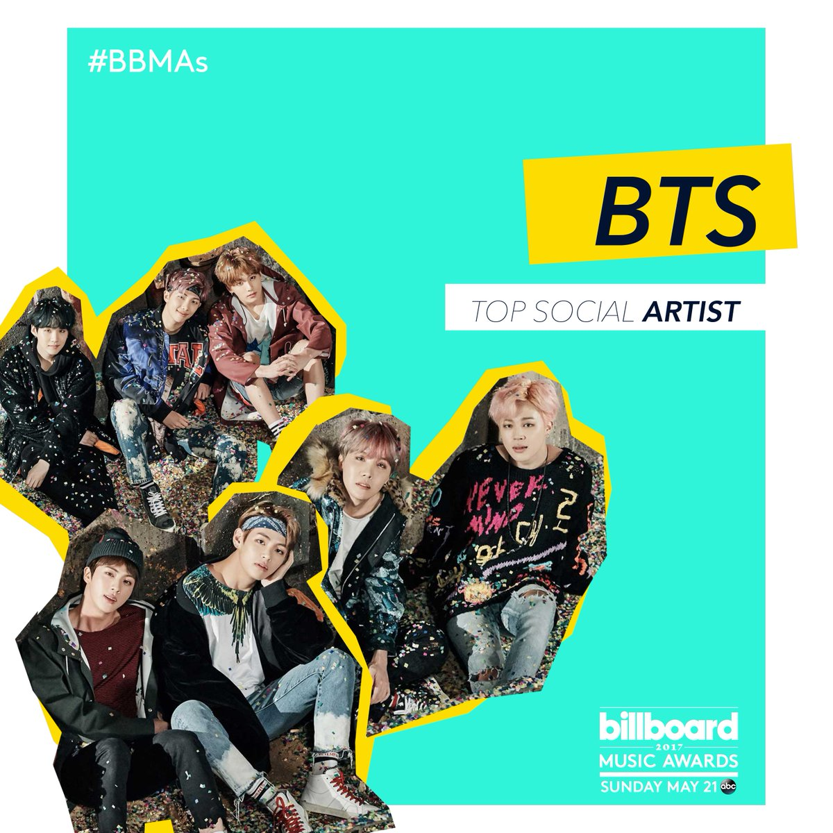 .@BTS_twt is the first K-pop group to receive a #BBMAs nomination and they're up for Top Social Artist! 👏