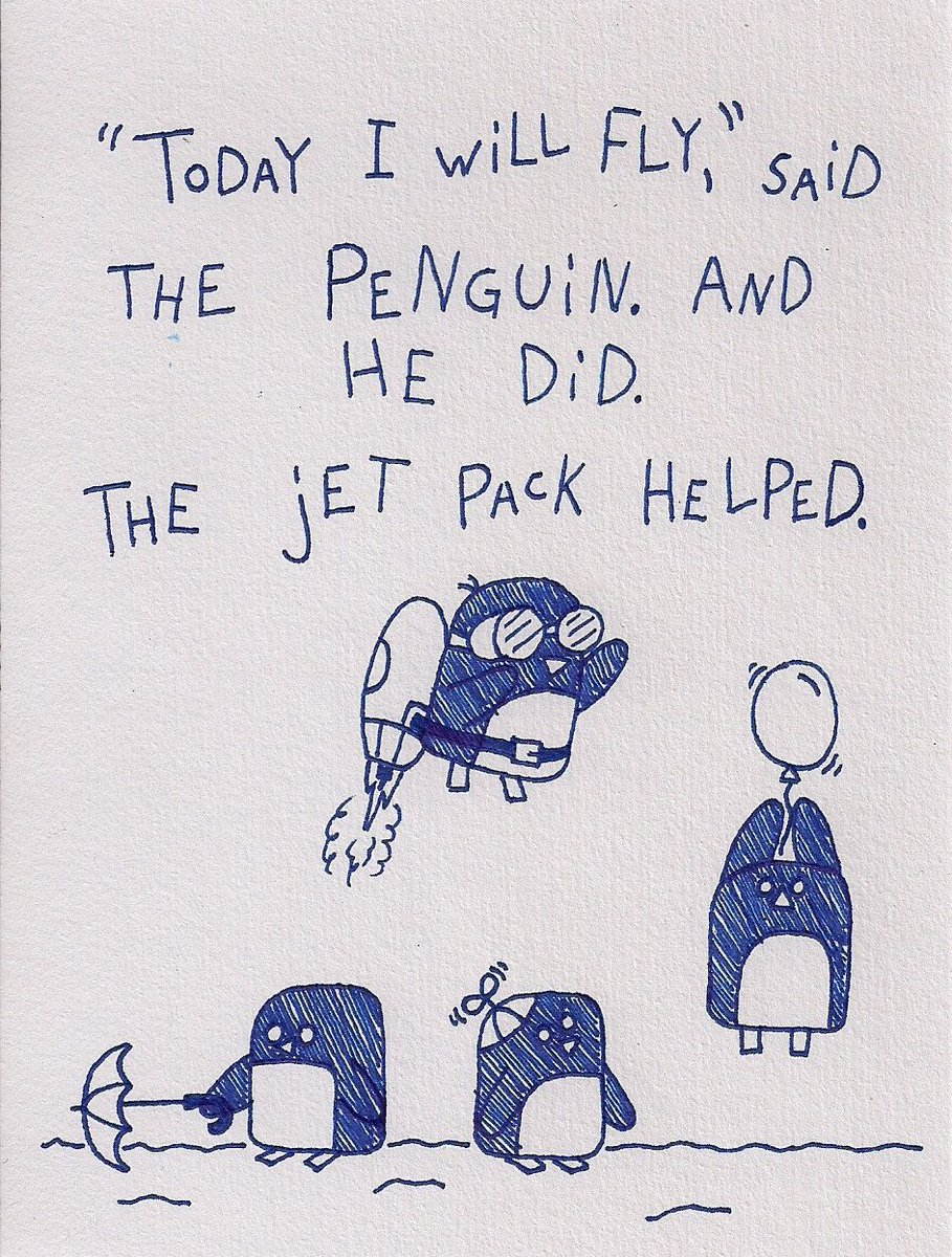 In honor of #WorldPenguinDay, here's a tiny story about a penguin & a jet pack... https://t.co/ez8AKeFY0s ???? ???? https://t.co/R7Nvxe3awX