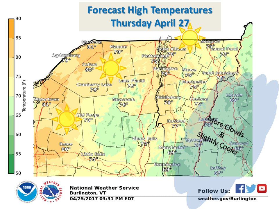 test Twitter Media - Want some warmth? You'll like Thursday! Summer-like north & west w/lots o' sun.  Bit cooler south & east w/more clouds. #vtwx #nywx https://t.co/nCOTogAvxY