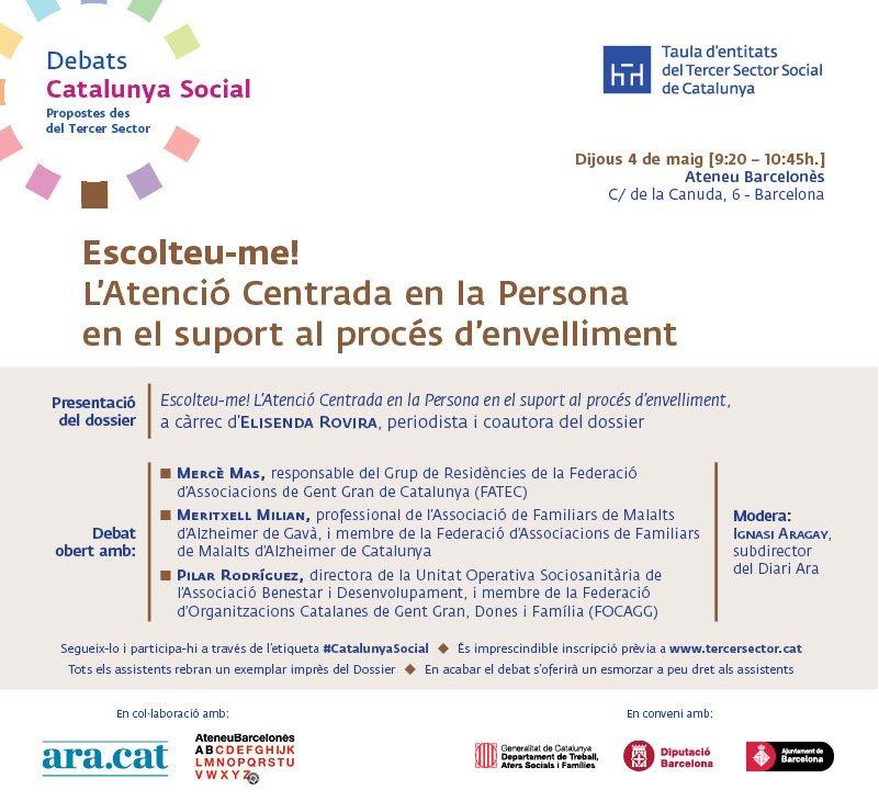"""provar Twitter Mitjans - 📆👵🏼 El 4/5 en el #Catalunyasocial de la @Taula3sector """"L'atenció centrada en la persona en el suport al procés d'envelliment"""" amb @BeniPilar https://t.co/xMXbvufmyY"""
