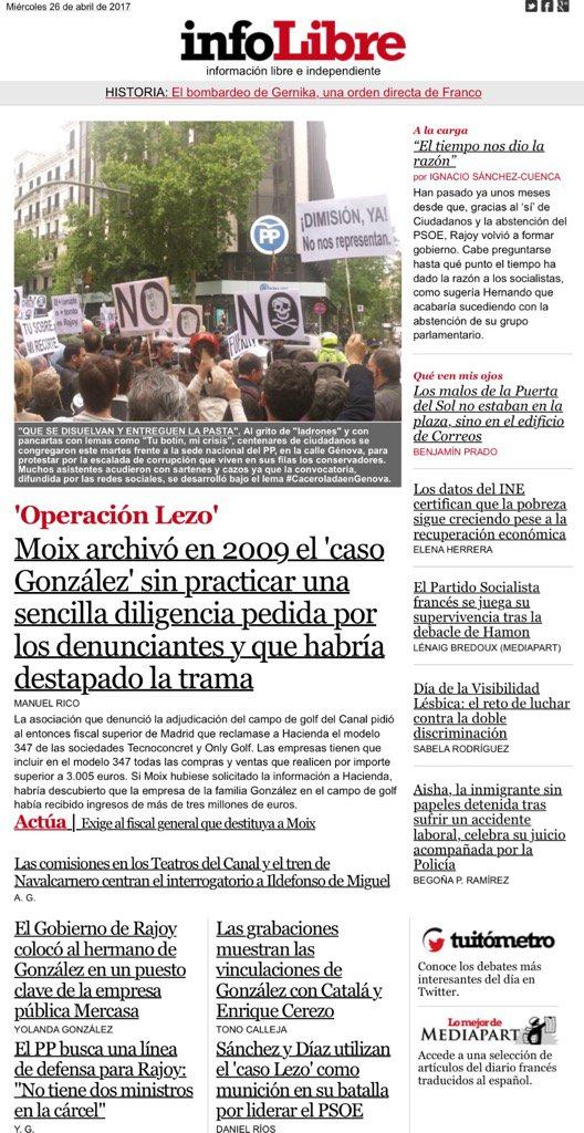 Portada @_infoLibre #Moix negó en 2009 una diligencia clave para destapar el #casoGonzález