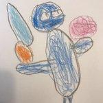 息子(4)がじゆうちょうに絵を描いてた。ぎゅ「これ誰?」息子「あおおに」ぎゅ「これは?」息子「ほうちょう」ぎゅ「これは?
