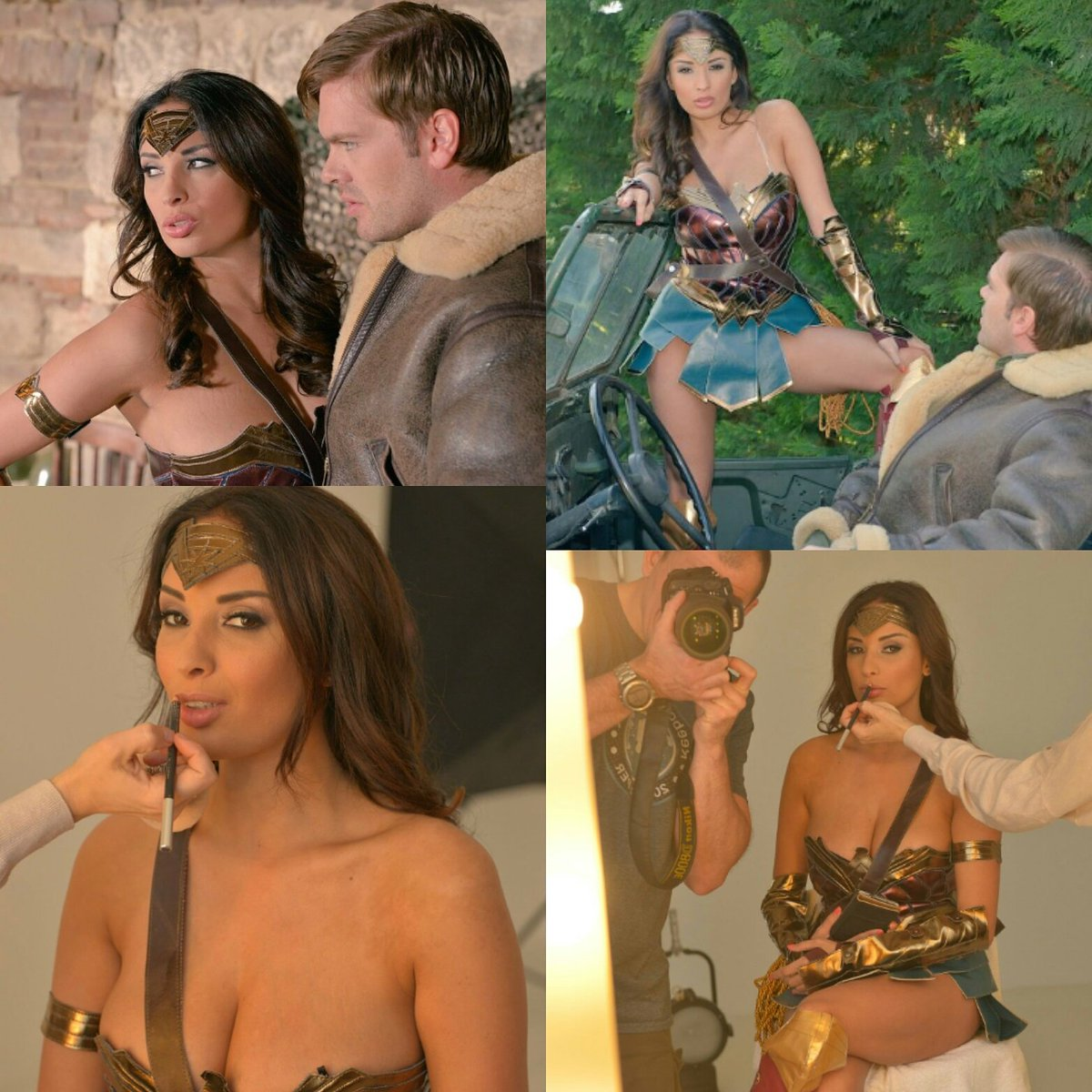 Backstage pixs from my shoot yesterday for with 😍😍 #WonderWoman #pornparody