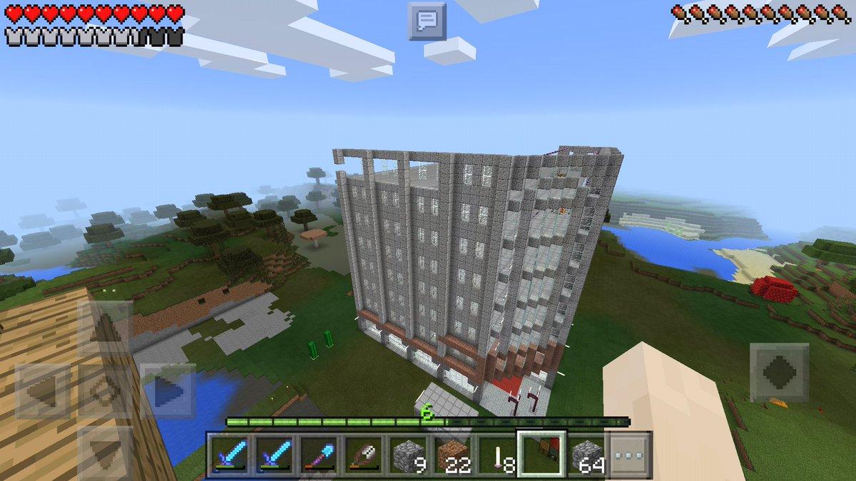 マインクラフトpeで現在、花菱(松菱)デパートを建設中2nd。8Fの壁面をちょっとだけ作成。モードをノーマルに戻してプレ