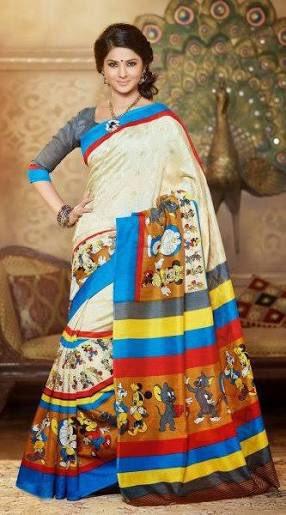 インド女性ファッションを代表する民族衣装サリー。まさかミッキー、ドナルド、トムとジェリー、そしてドラえもん、が会社の枠を