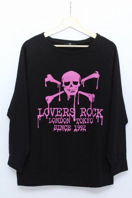 SUPER LOVERSスカルプリントドルマンカットソー黒×ピンク ¥1,500-入荷致しました!こちらの商品は通販でも