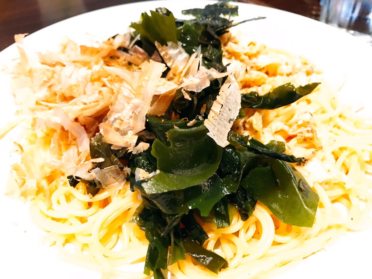 チロリン村のサザエさんのスパゲティ(たらこ、わかめ、かつお、サザエ)をメニューで考えた人は神。安いけど美味しくて量が多い