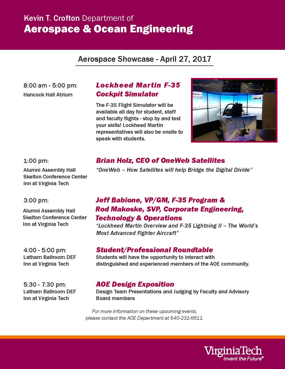 RT @VTEngineering: TODAY:  Test your skills in the a Lockheed Martin F-35 Flight Simulator! https://t.co/AwqauGKPh5