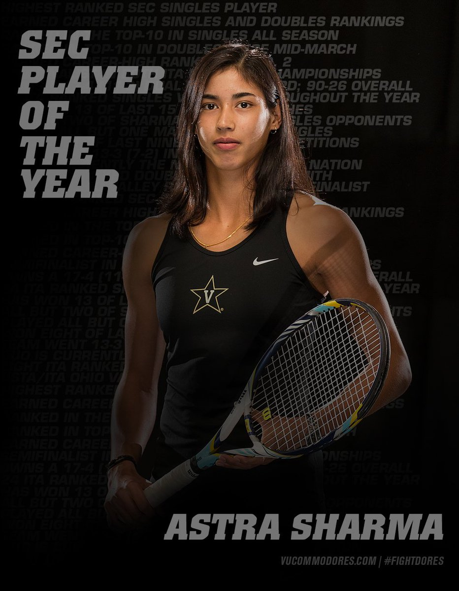 RT @Vandywtennis: Astra Sharma   Second women's tennis player to ever earn the title. #FIGHTDORES https://t.co/QaifsvNqPQ
