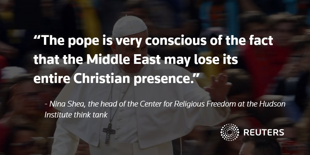 Pope Francis flies to Cairo on Friday, amid a Christian retreat across the Middle East: