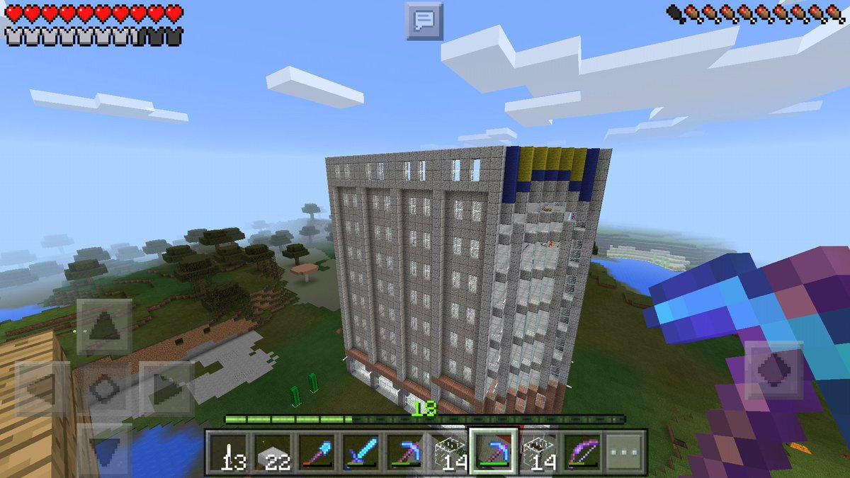 マインクラフトpeで現在、花菱(松菱)デパートを建設中2nd。9F外壁一部作成。軽石あと6スタックもあれば壁は作れそう♪