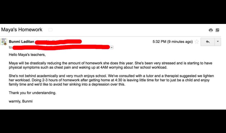 Brave mom emails daughter's school saying her 10-year-old is 'done' with homework
