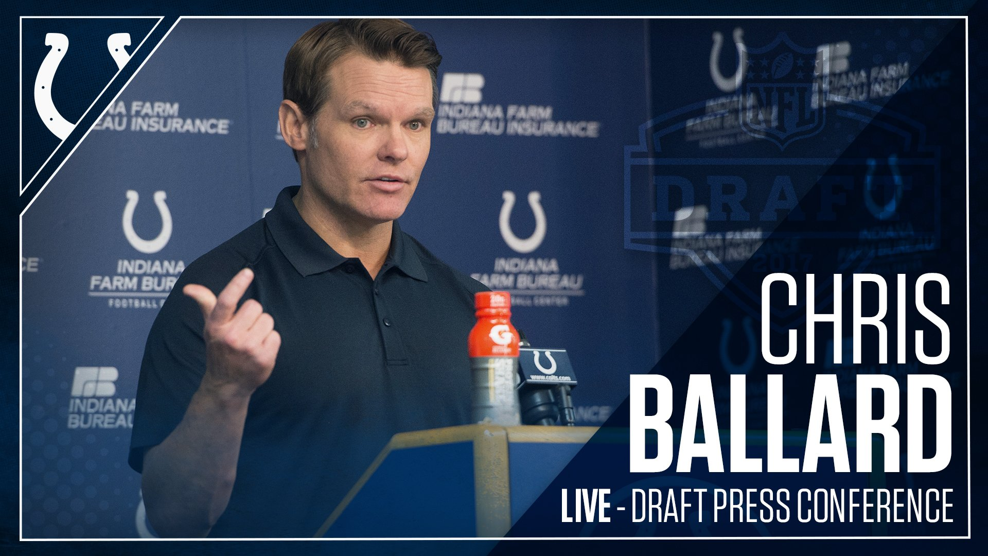 GM Chris Ballard is LIVE at the podium to talk #ColtsDraft.  WATCH: �� https://t.co/od6w2Cl8Ps    �� Colts Mobile App https://t.co/kkdiTfMO5z