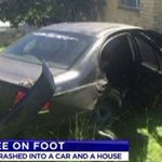 Pair on run after crashing car into house