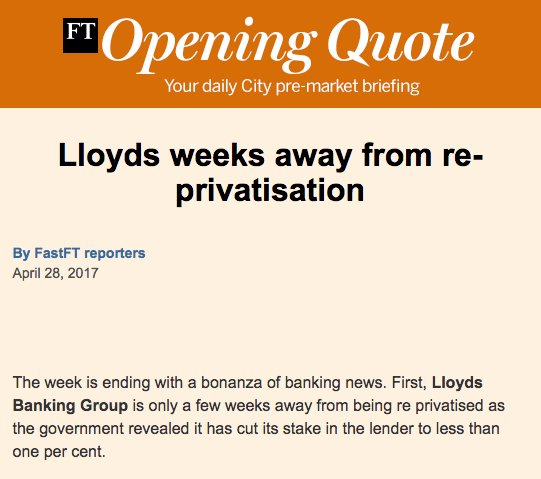 Lloyds weeks away from re-privatisation. FT Opening Quote City briefing. Sign up at https://t.co/wrjVcr4CZJ https://t.co/uUkpEynnjw