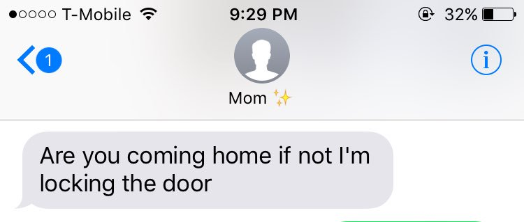 RT @MoniqueeRivera: Getting this text every night when you aren't home 😂 #growingupwithlenientparents https://t.co/E4F196PBVf