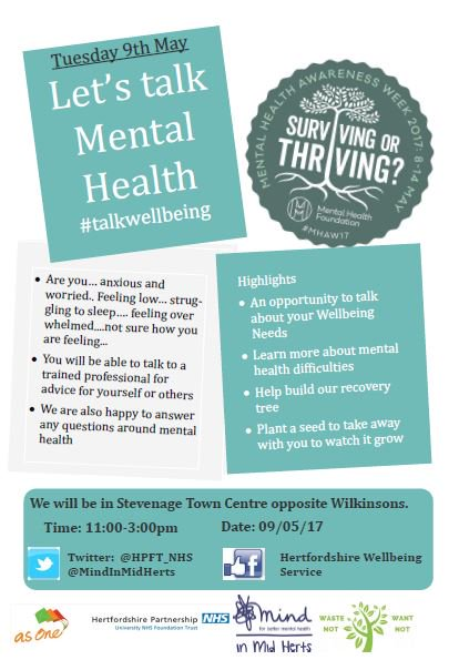 RT @HPFT_NHS: A chance to talk about your wellbeing in Stevenage town centre on 9 May #talkwellbeing #MHAW17 https://t.co/rCEW7Sw5jX