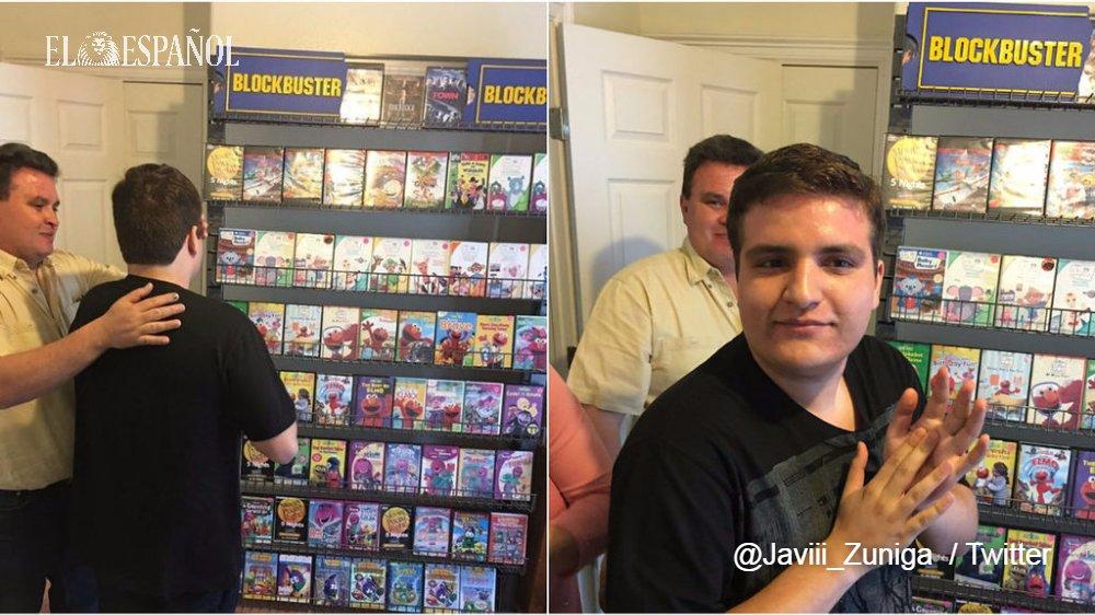 Una familia monta un videoclub en casa a su hijo autista tras el cierre de su favorito