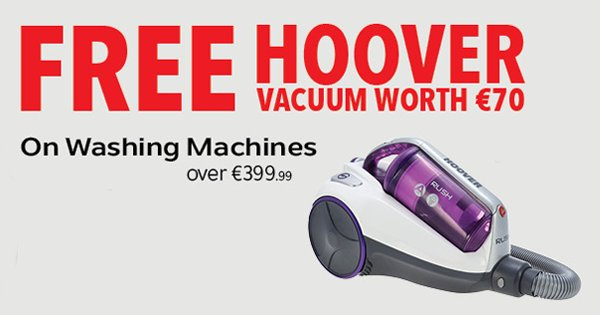 Get a FREE €70 Hoover vacuum w/ any washing machine over €399 this Bank Holiday! Shop Now - https://t.co/IcEIjhEYwo https://t.co/TR9Vkn6BKg