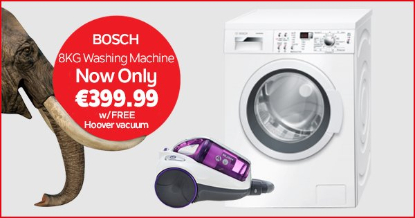 Get a FREE Hoover vac worth €70 with the Bosch 8KG washing machine this weekend! Shop Now - https://t.co/JtmRbJ3Tb1 https://t.co/ZxsiCowrS3