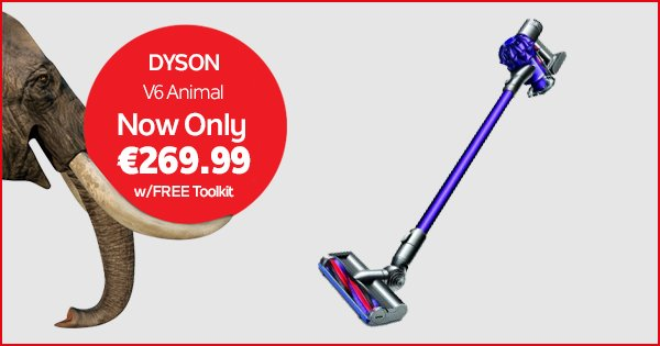 Step up to the Dyson V6 Animal for €269.99 & get a FREE toolkit worth €60 as well! Shop now https://t.co/ffVv0jc2KQ https://t.co/lmrXHEYKyi