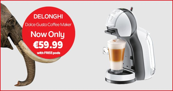 Treat yourself this Bank Holiday Monday w/ this Dolce Gusto coffee maker, only €59.99! - https://t.co/vfSX4DUWU7 https://t.co/tkJxuZ0Npa