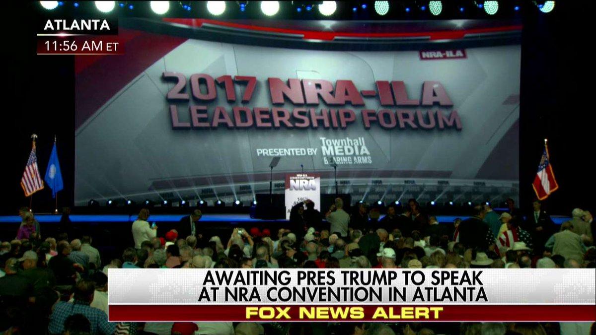 Happening Now Awaiting @POTUS to speak at @NRA Convention in Atlanta. #NRA