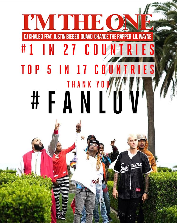 #FANLUV  #IMTHEONE is #1 in 27 countries and Top 5 in 17 countries on iTunes! #beEPIC #GRATEFUL���� @djkhaled https://t.co/2ZzewrIEvx