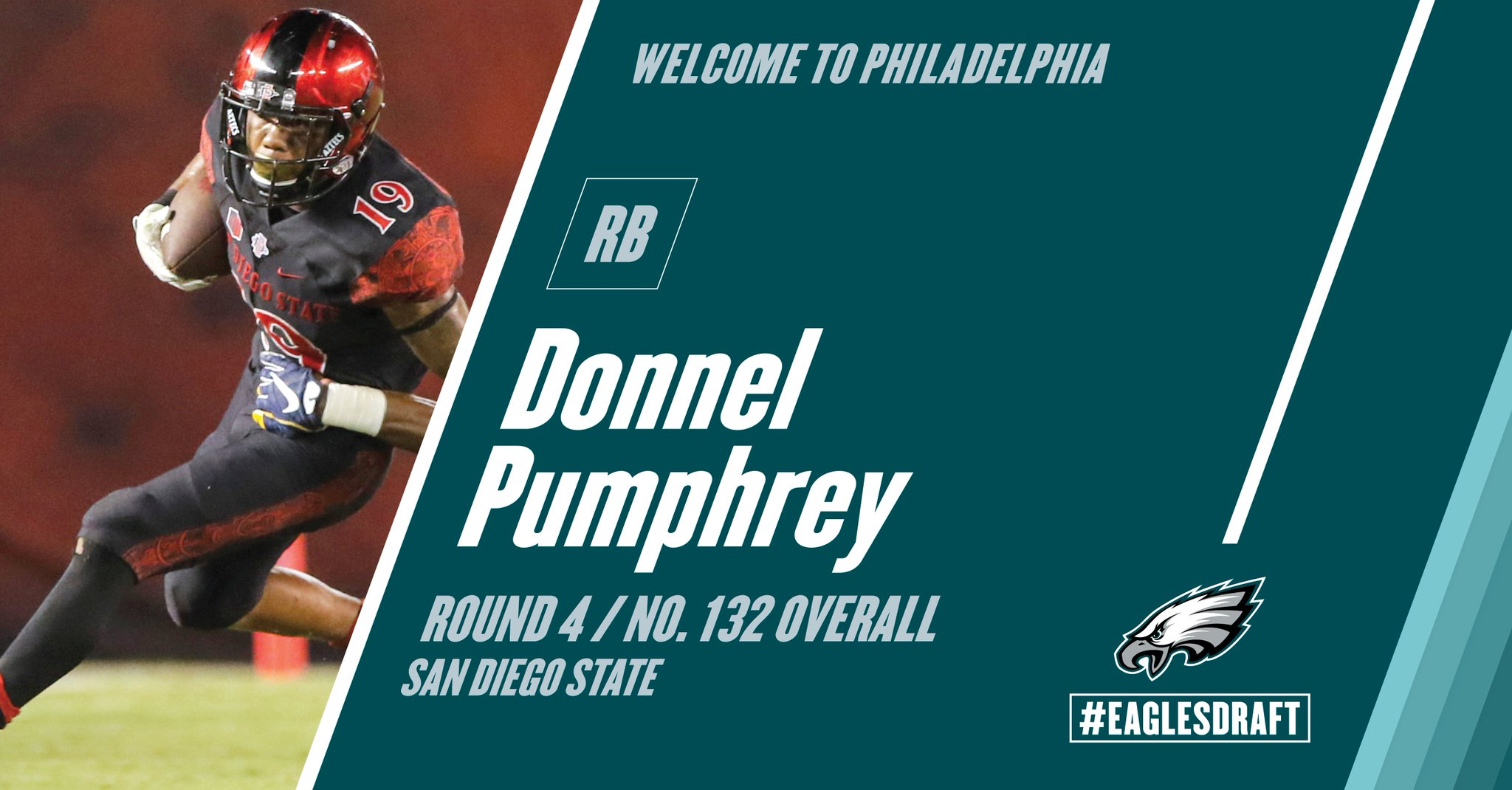With the 132nd pick in the 2017 #NFLDraft, the #Eagles select RB Donnel Pumphrey. #FlyEaglesFly https://t.co/wYVRRpAqDj