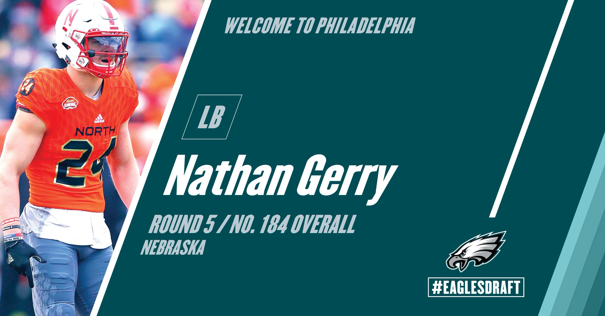 With the 184th pick in the 2017 #NFLDraft, the #Eagles select LB Nathan Gerry from Nebraska. #FlyEaglesFly https://t.co/gMXvPiFn6A