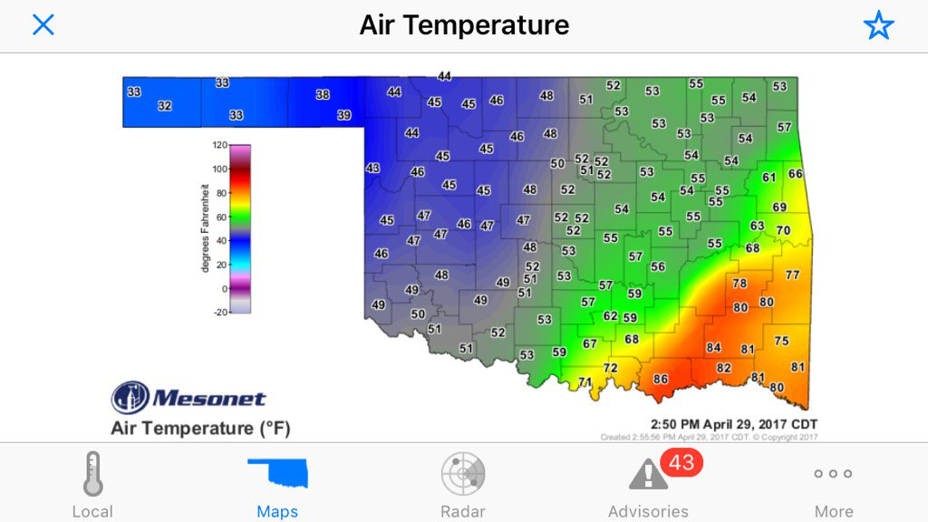 test Twitter Media - Current OK conditions spanning multiple seasons. Near/below freezing in the Panhandle. Mid-80s on the Red River. https://t.co/8kpa7UQ40p