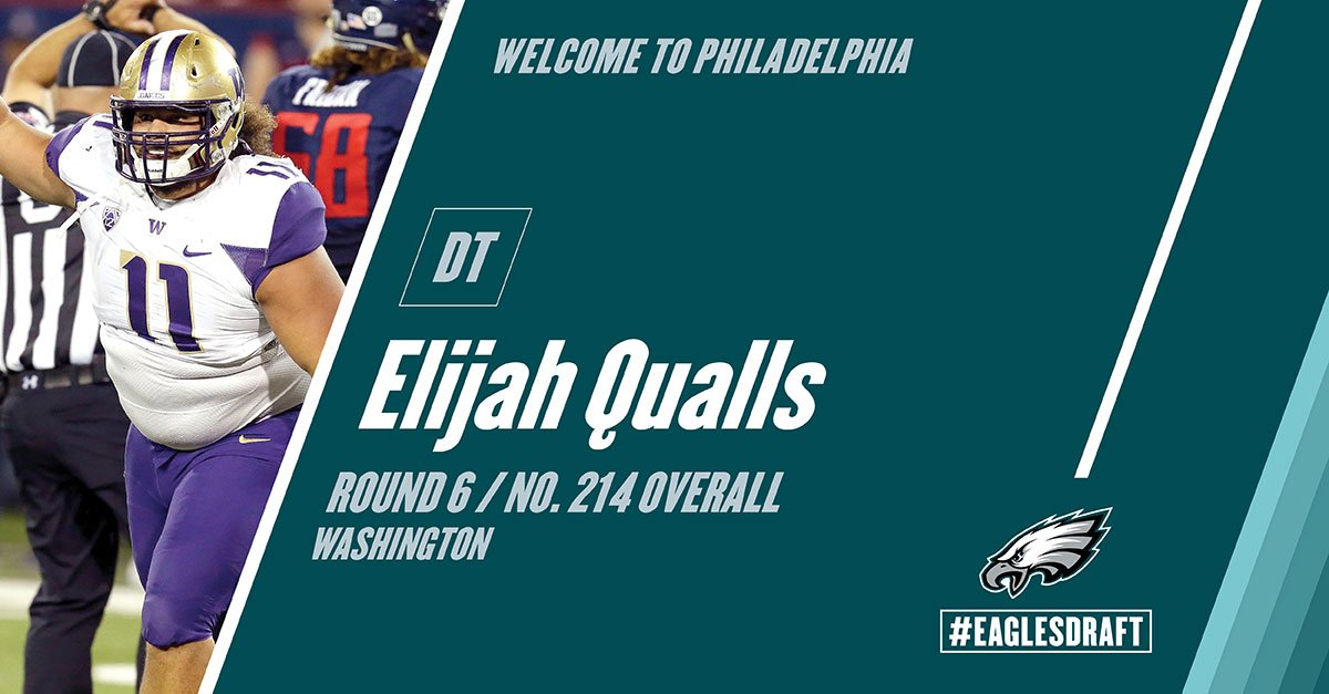 With the 214th pick in the 2017 #NFLDraft, the #Eagles select DT Elijah Qualls from Washington. #FlyEaglesFly https://t.co/m8c9UKNEZ7
