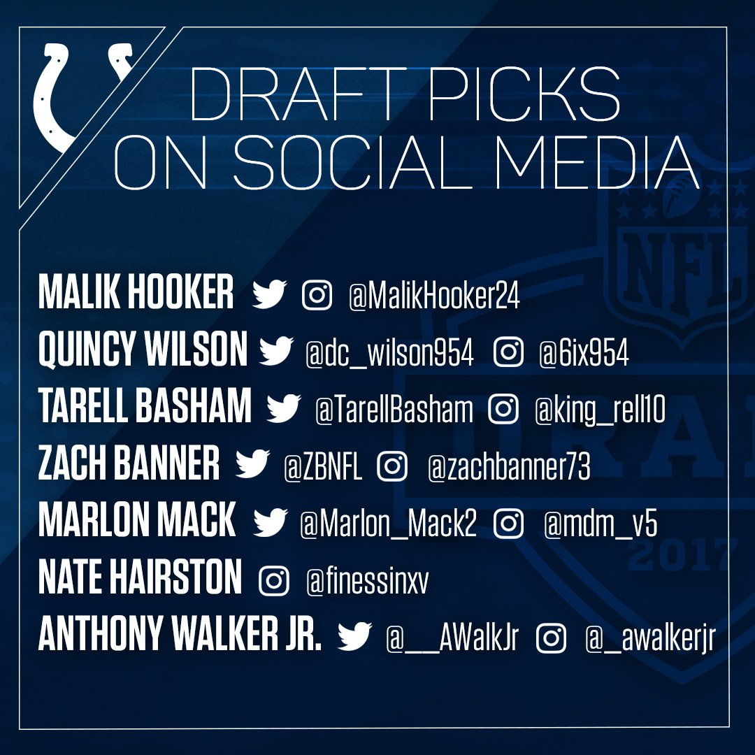 Follow the #ColtsDraft picks on social:   @MalikHooker24 @dc_wilson954 @TarellBasham @ZBNFL @Marlon_Mack2 @__AWalkJr https://t.co/x0L8csf9eF