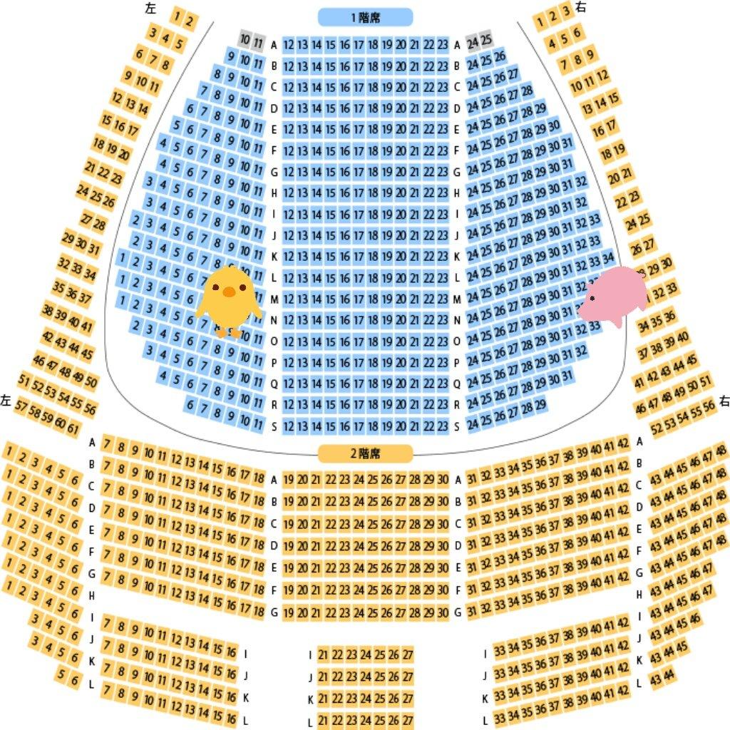 ALL OUT‼夏のイベントの座席......1階とはいえ端っこツラいな(;´_ゝ`)夜の部はガチな壁側の端だし....