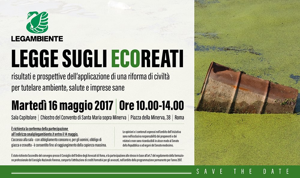 test Twitter Media - #Agenda Il 16 maggio a #Roma: Legge #ecoreati, risultati e prospettive di una riforma di civiltà a tutela di ambiente e imprese. https://t.co/sjZp0aPoCk