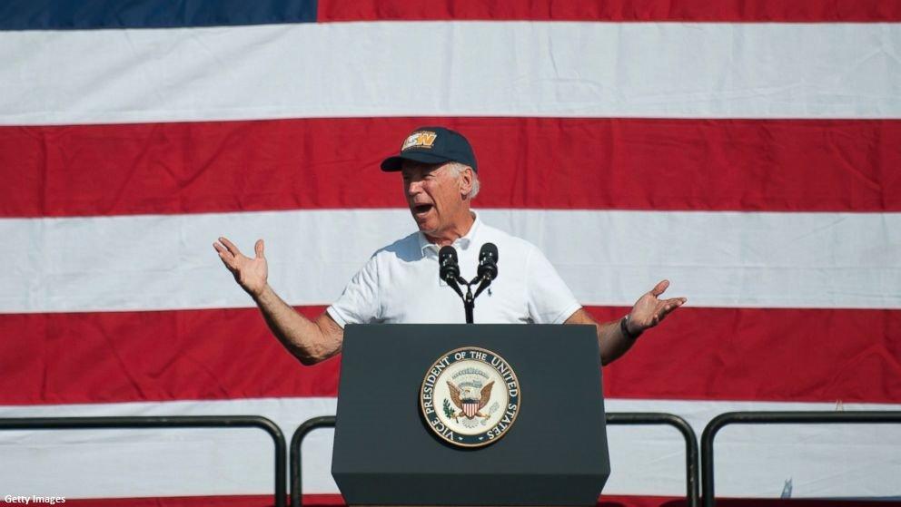 "Former VP Joe Biden tells New Hampshire audience: ""Guys, I'm not running."""