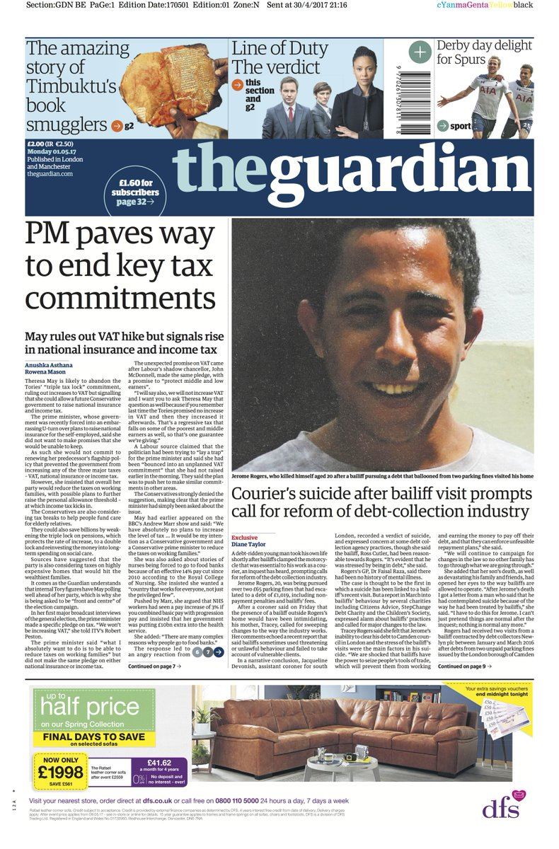 Guardian front page, Monday 1 May 2017: PM paves way to end key tax commitments https://t.co/Uw7jQnt9Rf