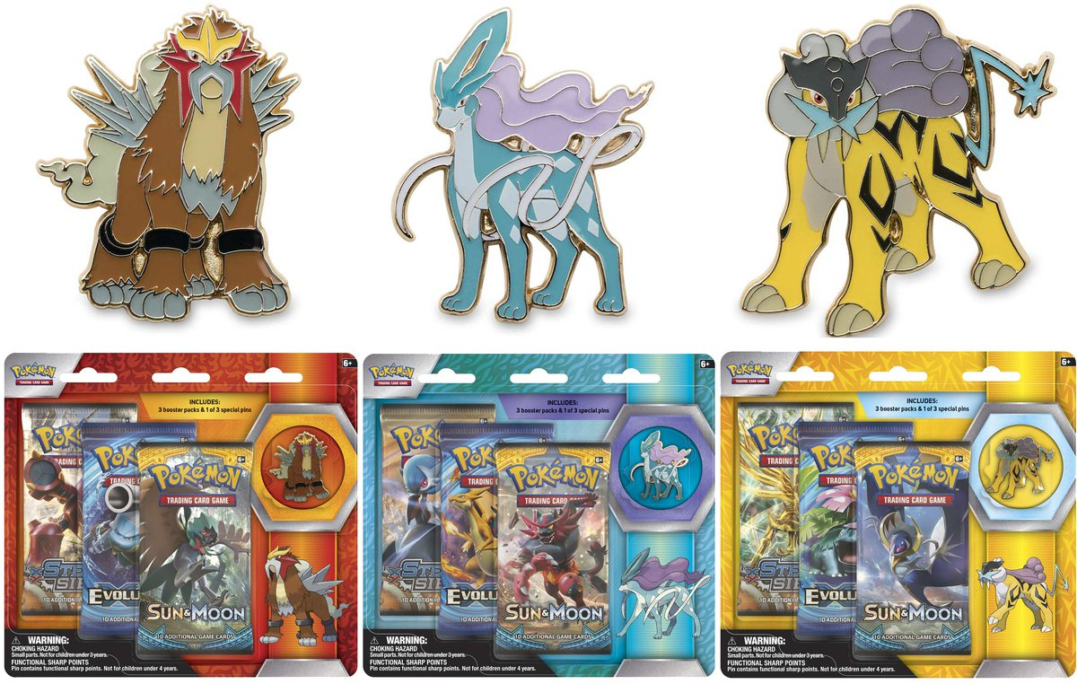 tweet-Larger images of Entei / Suciune / Raikou 3-Pack Pin blisters. Releasing May 5th for $14.99: https://t.co/29AwCHIZMW https://t.co/f8CvDJBzRr