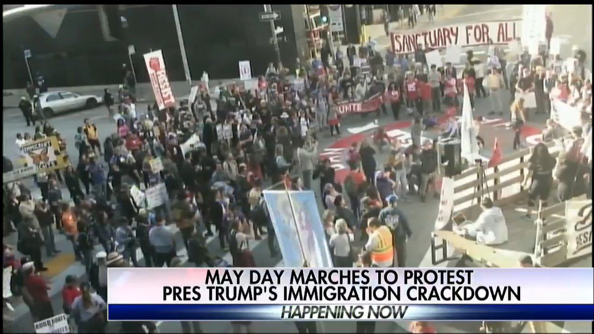 May Day marches to protest @POTUS's immigration crackdown; @ellisonbarber reports.