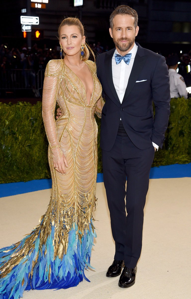 Blake Lively and Ryan Reynolds go for coordinating black tie looks at the