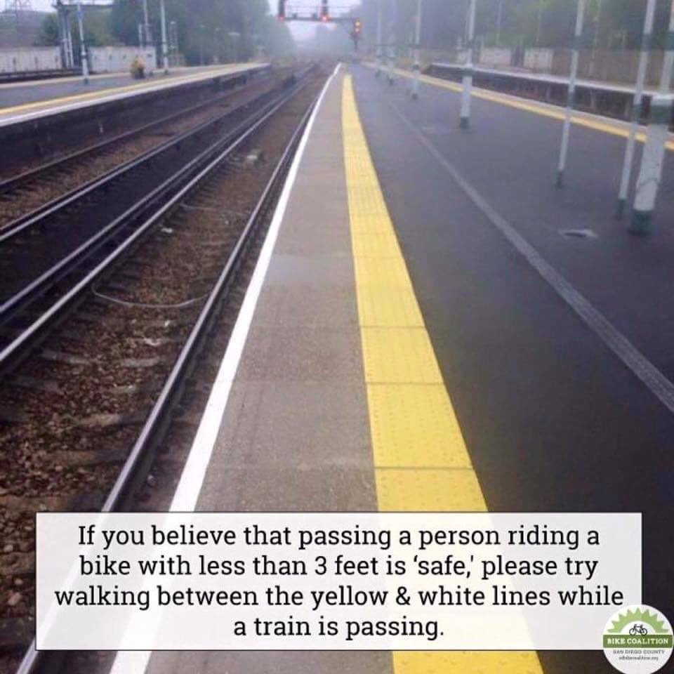 """If you think driving less than 3 feet from a cyclist is """"safe"""" . Try walking left of this line...via @CyclingSurgeon https://t.co/YQjgLsAxky"""