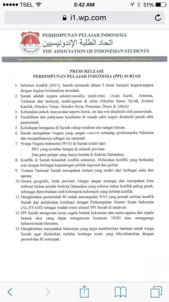 Para pelajar/mahasiswa Indonesia di Suriah memberitahu apa sebenarnya yg terjadi di negeri yg dikoyak perang itu. https://t.co/713Y4G7w1d