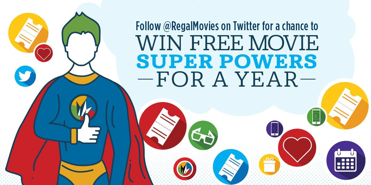 FOLLOW us & RT with #RegalSuperSweeps for a chance to win a free movie every week for an entire year! https://t.co/t0VNWZW2PP
