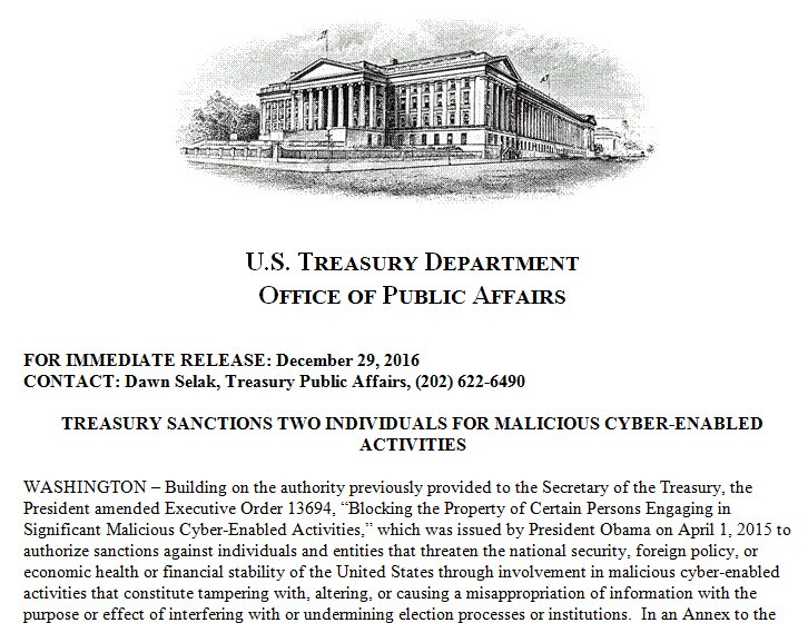 Today, Treasury sanctions two individuals for malicious cyber-enabled activities. https://t.co/c4LKHoEhwZ https://t.co/0M24mshs0f