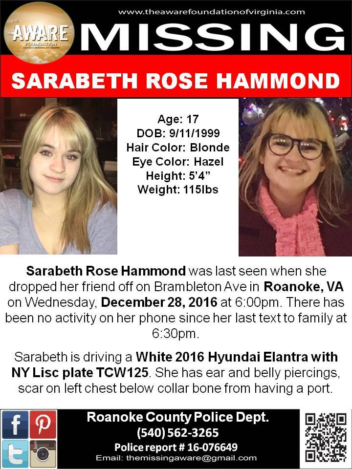SARABETH ROSE HAMMOND, age 17, is missing. PLEASE SHARE! https://t.co/1sna4KdMNX